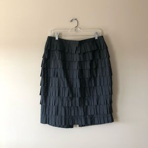 Doncaster Collection black tiered silk skirt